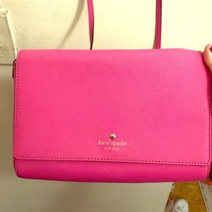 Hot Pink Kate Spade Leather Crossbody Purse